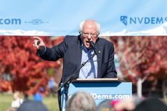 RENO, NV - October 25, 2018 - Bernie Sanders shouting during a s stock image