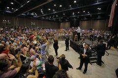 Bernie Sanders Speaks an der Präsidentensammlung, Modesto, CA Lizenzfreie Stockfotografie