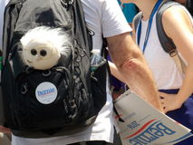 Bernie Sanders Supporter with Bernie Doll and Sign stock photo