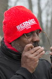 Bernie Sanders Supporter at Rally Stock Images