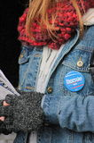 Bernie Sanders Supporter at Rally Royalty Free Stock Images