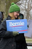 Bernie Sanders Supporter at Rally Stock Photo