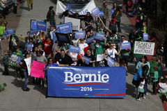 Bernie Sanders supporters in parade royalty free stock image