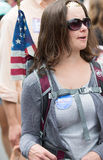 Bernie Supporters bij Konijnenveldvt vierde van Juli-Parade Stock Foto's