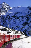 Bernina Express. The railway walk on glacier in Switzerland Royalty Free Stock Photo