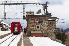 Bernina Express Stopped at Alp Grum Stock Image