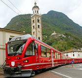 Bernina express on the street. Royalty Free Stock Images