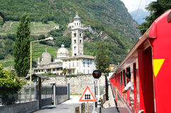 Bernina express train arriving at Tirano on Italy Royalty Free Stock Images