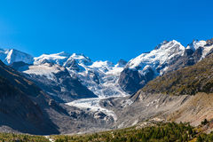 Bernina masywny i Morteratsch lodowiec obrazy stock