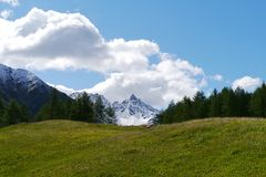 Bernina pass or Passo del Bernina in Switzerland Royalty Free Stock Images