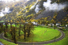Bernina Railway Circular Viaduct, Brusio, Switzerland royalty free stock photo