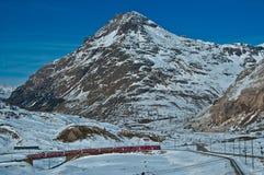 Bernina, Swiss alp. The famous red train of Bernina - Switzerland royalty free stock photos