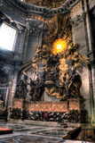 Bernini Cathedrapetri and Gloria. HDR image of Bernini's Cathedrapetri and Gloria inside St. Peters Basilica. Created by combining three individual exposures Stock Photography