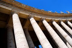 Bernini colonnade in St. Peter square, Vatican City. stock images
