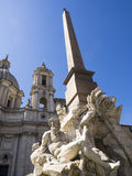 Bernini. Details of a Bernini fountain in Piazza Navona Stock Image