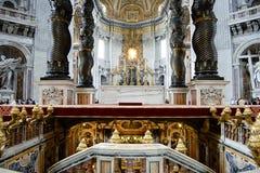 Bernini`s Baldacchino Altar - Saint Peter`s Basilica - Vatican City Stock Photo