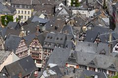Bernkastel Kues aerial panoramic view. Bernkastel-Kues is a well-known winegrowing centre on the Moselle, Germany royalty free stock photos