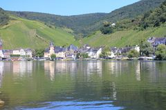 Bernkastel Kues Germany. Bernkastel-Kues, Germany August 17, 2016: View from the waterside royalty free stock images