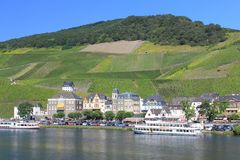 Bernkastel Kues Germany. Bernkastel-Kues, Germany August 17, 2016: View from the waterside stock photos