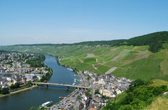 Bernkastel-Kues Mosel. View from castle of Bernkastel-Kues on Mosel river, Germany Stock Photos