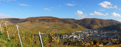 Bernkastel-Kues no panorama de Moselle Fotos de Stock Royalty Free