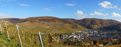 Bernkastel-Kues på den Moselle panoramat Royaltyfria Foton
