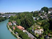 Bernstadslandskap med den Aare flodschweizaren, Bern Royaltyfria Bilder