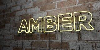 BERNSTEINFARBIG - Glühende Leuchtreklame auf Steinmetzarbeitwand - 3D übertrug freie Illustration der Abgabe auf Lager stockbilder