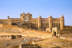 Bernsteinfarbiger Palast, Indien stockbild