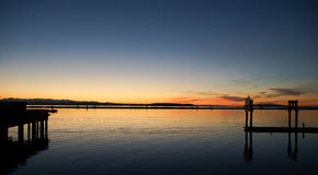Bernsteinfarbiger Sonnenuntergang Stockfoto