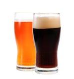 Bernsteinfarbiges Ale und Stout stockfotos