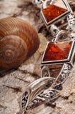 Bernsteinfarbiges Armband auf Barke des Baums Lizenzfreie Stockfotografie