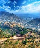 Bernsteinfarbiges Fort Indiens Jaipur in Rajasthan Lizenzfreies Stockfoto