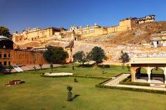 Bernsteinfarbiges Fort in Jaipur Lizenzfreies Stockbild