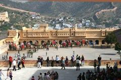 Bernsteinfarbiges Fort, Jaipur, Indien Stockfotos