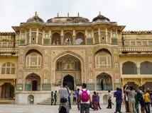 Bernsteinfarbiges Fort in Jaipur, Indien Stockbild