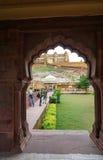 Bernsteinfarbiges Fort in Jaipur, Indien Stockfotografie