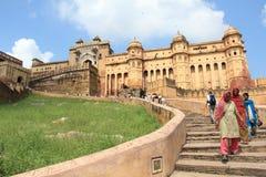 Bernsteinfarbiges Fort in Jaipur. (Rajasthan). Lizenzfreies Stockfoto