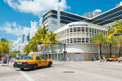 Beroemd Art Deco Hotels in Zuidenstrand, Miami stock afbeelding