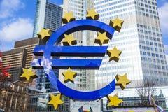 Beroemd euro teken in Frankfurt Royalty-vrije Stock Fotografie