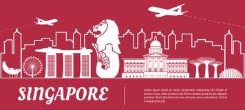 Beroemd het oriëntatiepuntsilhouet van Singapore met rood en wit kleurenontwerp royalty-vrije illustratie
