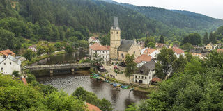 Beroemd historisch panorama 160 km of 100 mijlen zuiden van Praag, Stock Fotografie