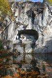 Beroemd leeuwmonument in Luzerne Stock Foto's