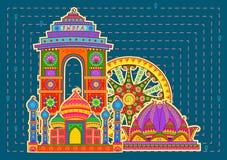 Beroemd monument en landmarkof India in Indische kunststijl vector illustratie