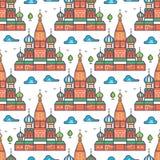 Beroemd naadloos het patroonontwerp van Moskou cathedrale royalty-vrije illustratie