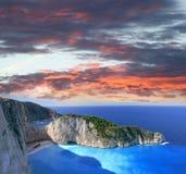 Beroemd Navagio Strand, Zakynthos, Griekenland Stock Foto's