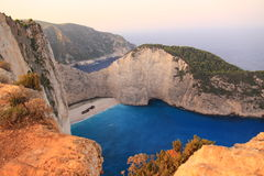 Beroemd Navagio Strand, Zakynthos, Griekenland Royalty-vrije Stock Foto