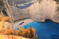 Beroemd Navagio Strand, Zakynthos, Griekenland Stock Afbeelding