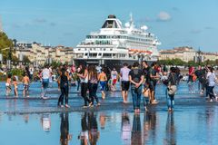 Beroemd Nederlands cruiseschip Prinsendam in Bordeaux, Frankrijk stock afbeeldingen