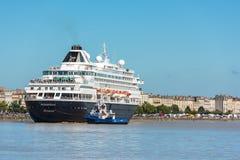 Beroemd Nederlands cruiseschip Prinsendam in Bordeaux, Frankrijk stock afbeelding
